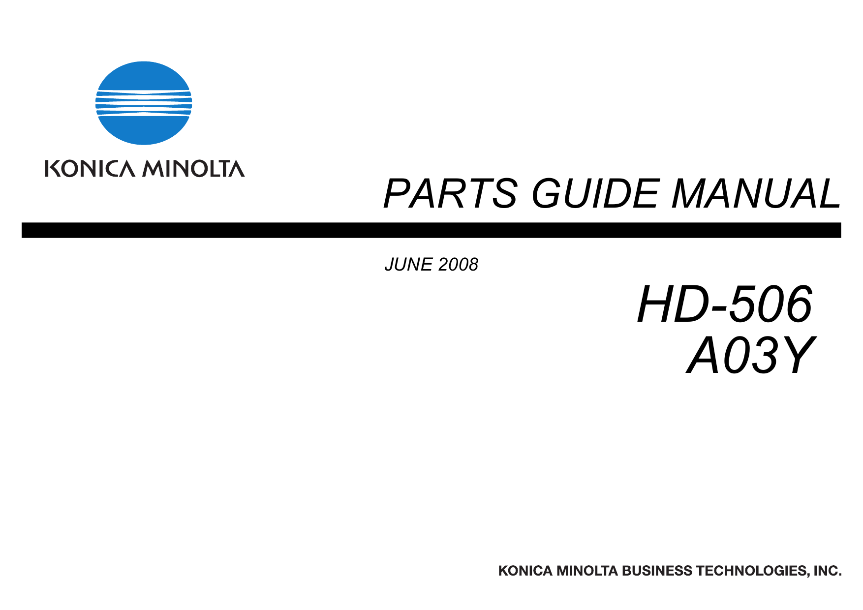 Konica-Minolta Options HD-506 A03Y Parts Manual